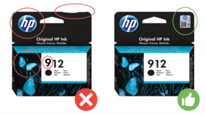 Box damaged or with printing defects ...: These elements can help identify a counterfeit cartridge.